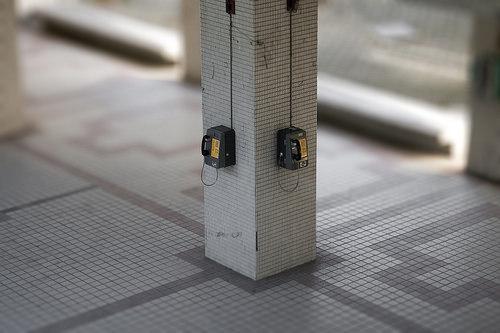 超逼真模型: 台科T4樓下的小公共電話