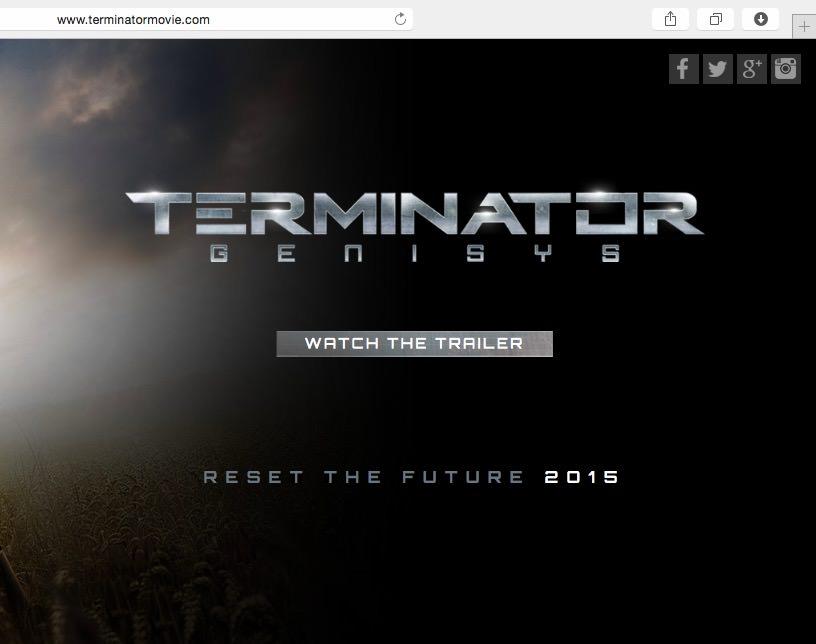 Logo 下方的「Watch the trailer」按鈕以及即將上映的「Reset the future - 2015」字樣,都是使用免費的 Google Fonts Orbitron 字體