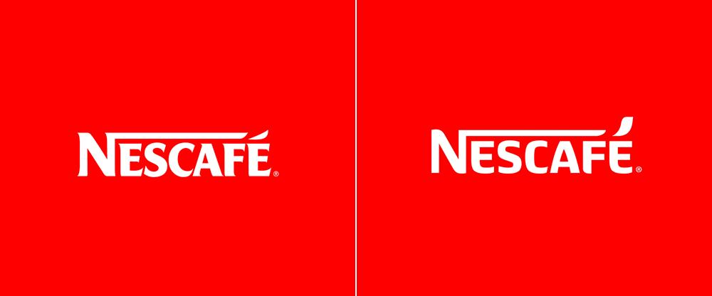 右圖是雀巢咖啡在 2014 年推出全新品牌 Logo(圖片引用自 Brand New)