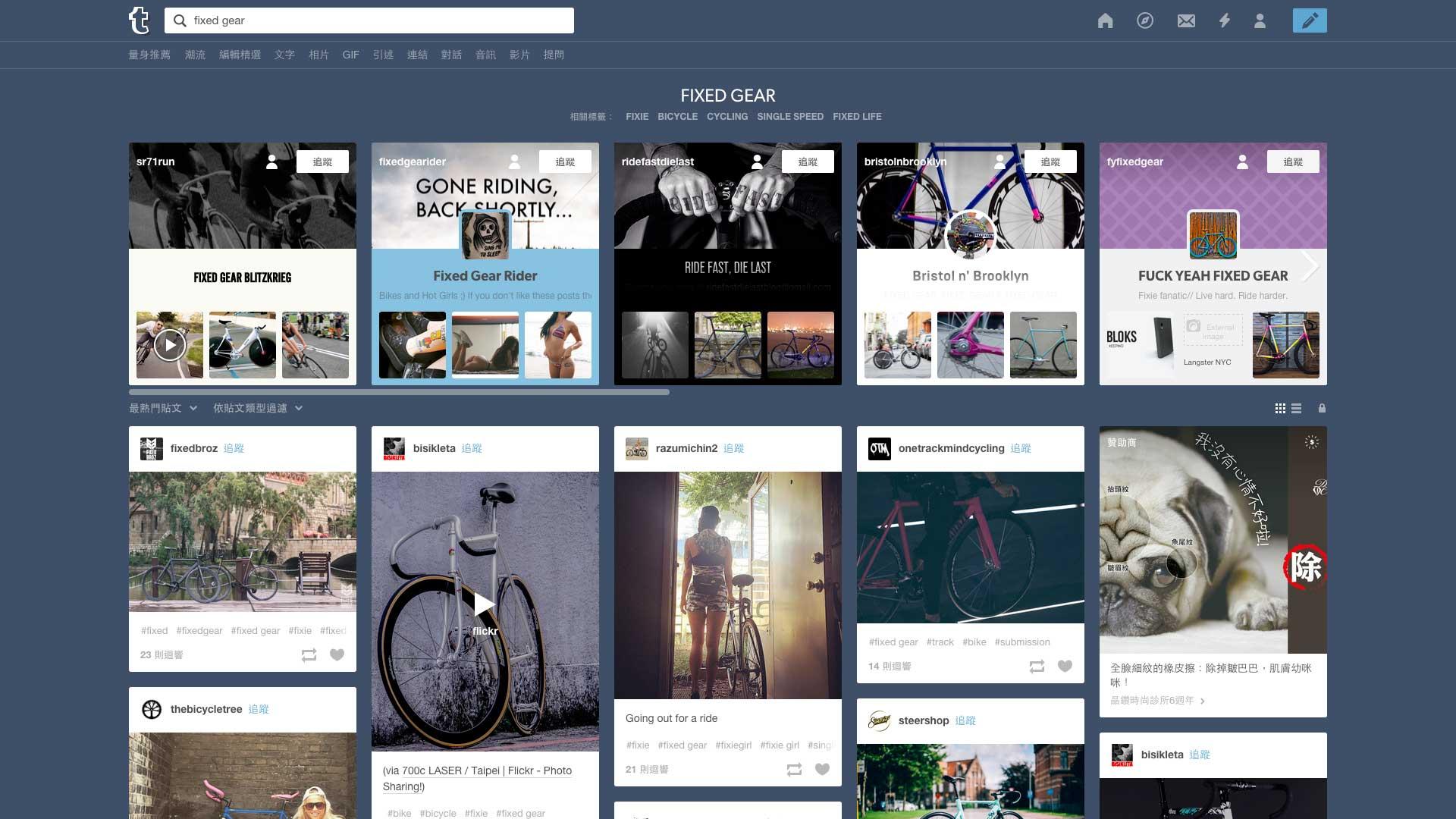 Tumblr 主題探索介面,擅長整合同類型的部落格內容給使用者